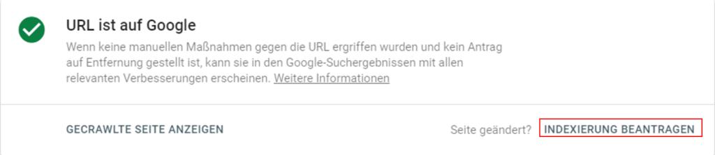 URL Indexierung beantragen
