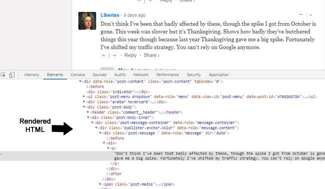 Untersuchung der Kommentare im gerenderten HTML-Code