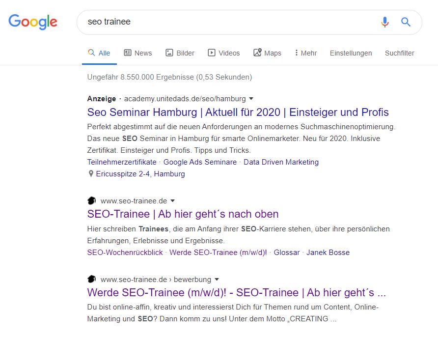 Favicons sind nun auch in der Google-Suche für Desktopgeräte sichtbar.
