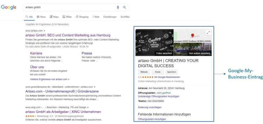 Beispiel eines Google-My-Business-Eintrags