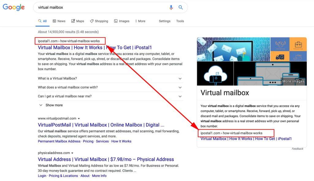 Featured Snippets auf der rechten Seite der Google-Suchergebnisse