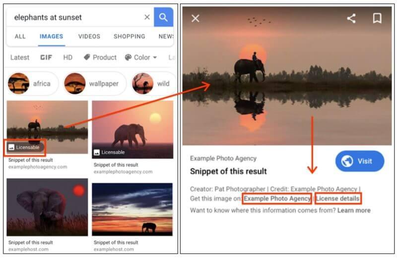 Lizenz-Label Google Bildersuche