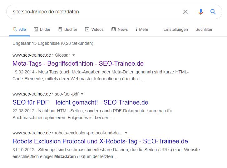 Meta-Daten Site-Abfrage